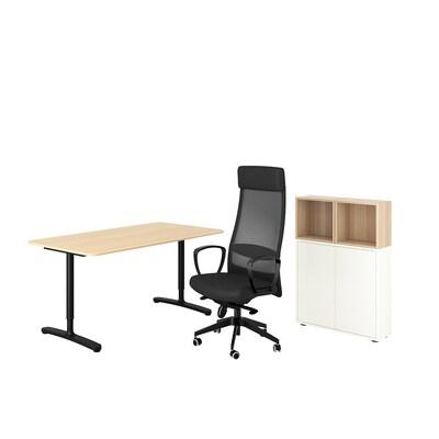 BEKANT/MARKUS / EKET Schreibtisch+Aufbewahrungskombi, und Drehstuhl weiß/weiß gebeizt dunkelgrau