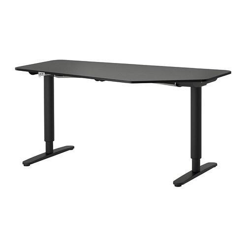 bekant schreibtisch 5eck sitz steh schwarzbraun schwarz ikea. Black Bedroom Furniture Sets. Home Design Ideas