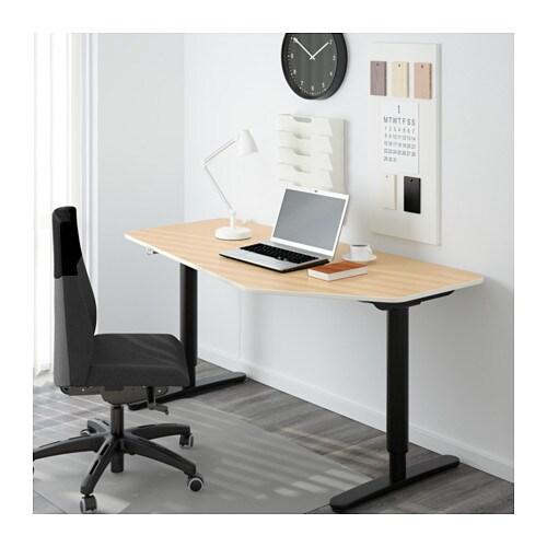 bekant schreibtisch 5eck sitz steh birkenfurnier schwarz ikea. Black Bedroom Furniture Sets. Home Design Ideas