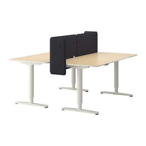 bekant schreibtisch sitz steh abschirm birkenfurnier wei ikea. Black Bedroom Furniture Sets. Home Design Ideas