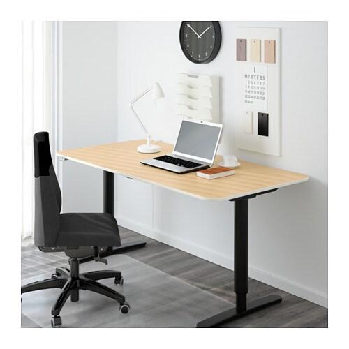 Schreibtisch  BEKANT Schreibtisch sitz/steh - Birkenfurnier/weiß - IKEA