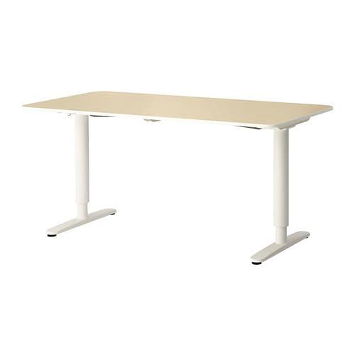 BEKANT Schreibtisch sitz/steh, Birkenfurnier, weiß