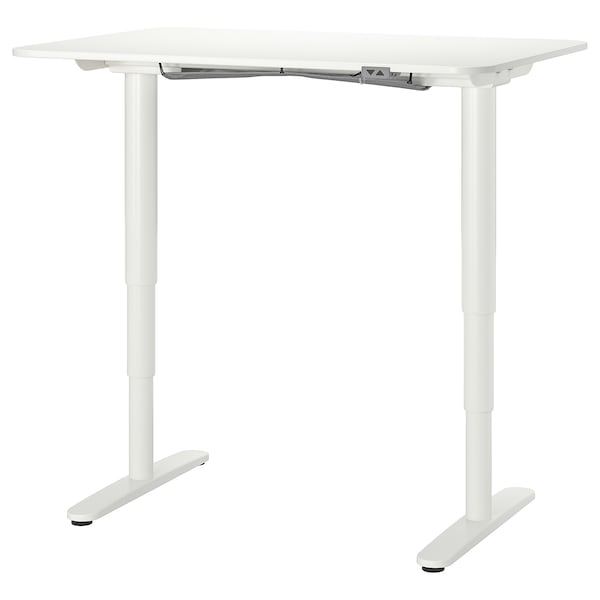 BEKANT Schreibtisch sitz/steh, weiß, 120x80 cm