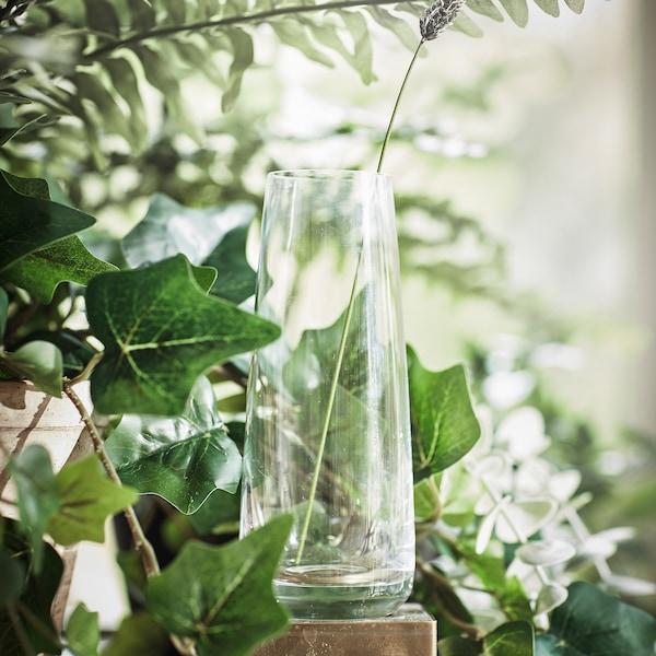 BERÄKNA Vase, Klarglas, 15 cm