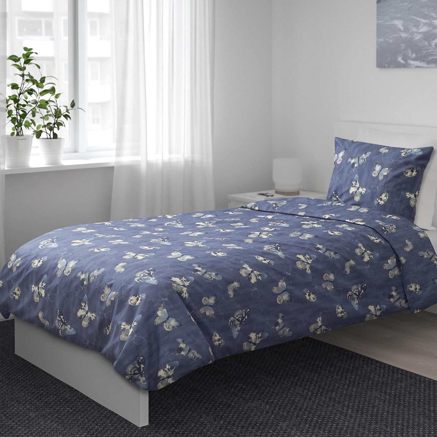 Bergkarel Bettwascheset 2 Teilig Dunkelblau Schmetterling Ikea Osterreich