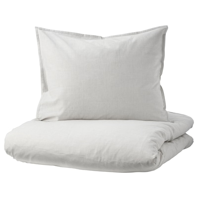 BERGPALM Bettwäscheset, 3-teilig grau/Streifen 118 Quadratzoll 2 Stück 220 cm 240 cm 50 cm 60 cm