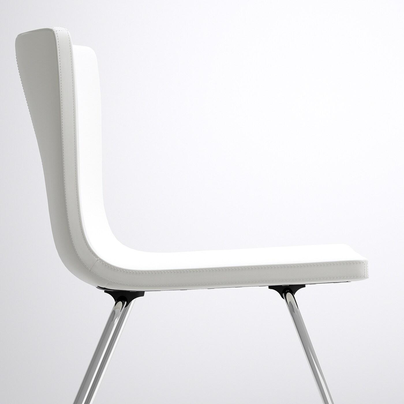 IKEA BERNHARD Stuhl Kavat Mjuk weiß; verchromt