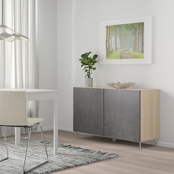 BESTÅ Aufbewahrung mit Türen, Eicheneff wlas Kallviken/Stallarp/dunkelgrau Betonmuster, 120x40x74 cm