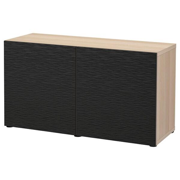 BESTÅ Aufbewahrung mit Türen, Eicheneff wlas/Laxviken schwarz, 120x42x65 cm