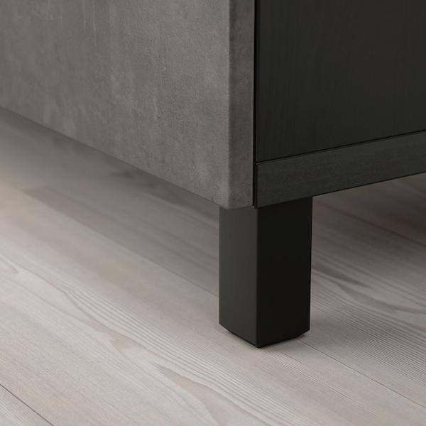 BESTÅ Aufbewahrung mit Türen, schwarzbraun Kallviken/Stubbarp/dunkelgrau Betonmuster, 120x42x74 cm