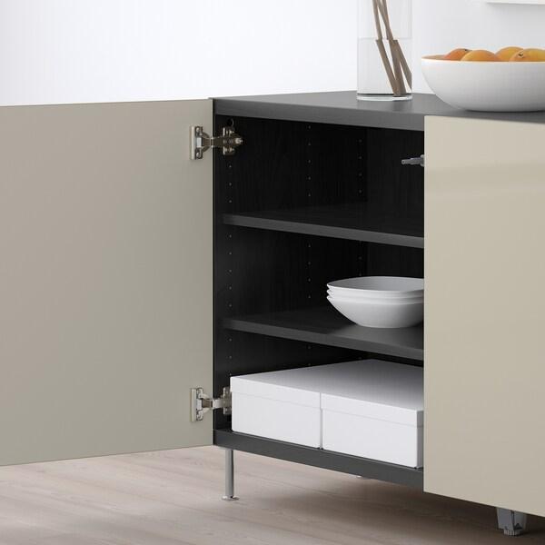 BESTÅ Aufbewahrung mit Türen, schwarzbraun/Selsviken/Stallarp Hochglanz beige, 120x40x74 cm
