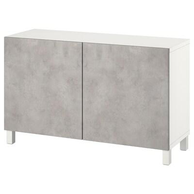 BESTÅ Aufbewahrung mit Türen, weiß Kallviken/hellgrau Betonmuster, 120x42x74 cm