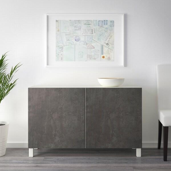 BESTÅ Aufbewahrung mit Türen, weiß Kallviken/Stubbarp/dunkelgrau Betonmuster, 120x42x74 cm