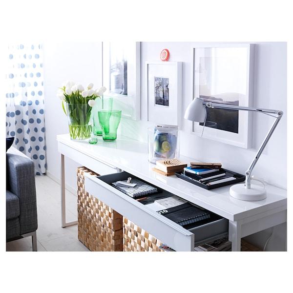 BESTÅ BURS Schreibtisch, Hochglanz weiß, 120x40 cm