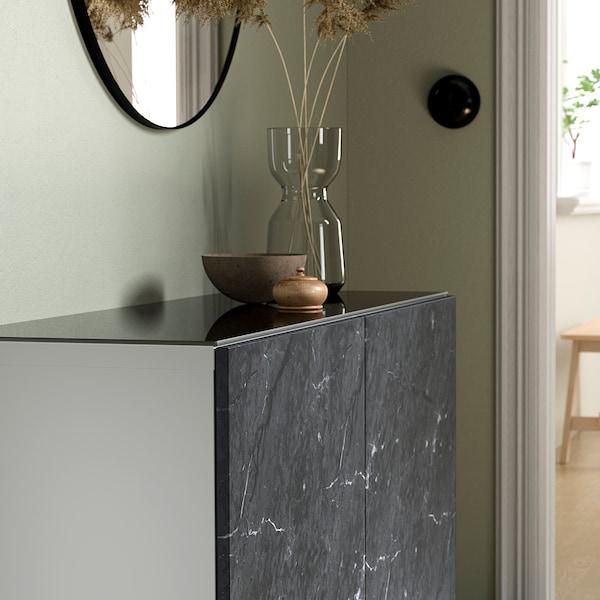 BESTÅ Deckplatte, Glas dunkelgrau, 120x40 cm