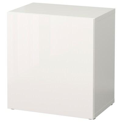 BESTÅ Regal mit Tür, weiß/Selsviken Hochglanz/weiß, 60x42x64 cm