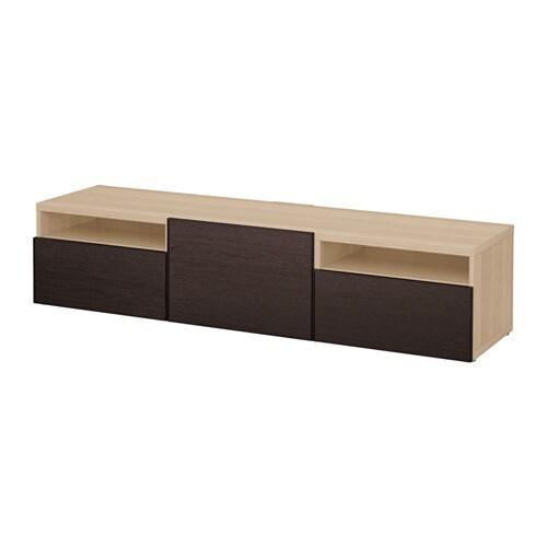 best tv bank eicheneffekt wei lasiert inviken schwarzbraun schubladenschiene sanft. Black Bedroom Furniture Sets. Home Design Ideas