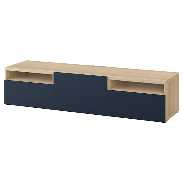 BESTÅ TV-Bank, Eicheneff wlas/Notviken blau, 180x42x39 cm