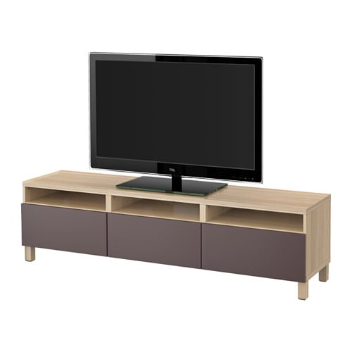 best tv bank mit schubladen eicheneffekt wei lasiert. Black Bedroom Furniture Sets. Home Design Ideas