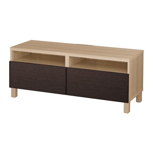 best tv bank mit schubladen eicheneffekt wei lasiert inviken schwarzbraun schubladenschiene. Black Bedroom Furniture Sets. Home Design Ideas