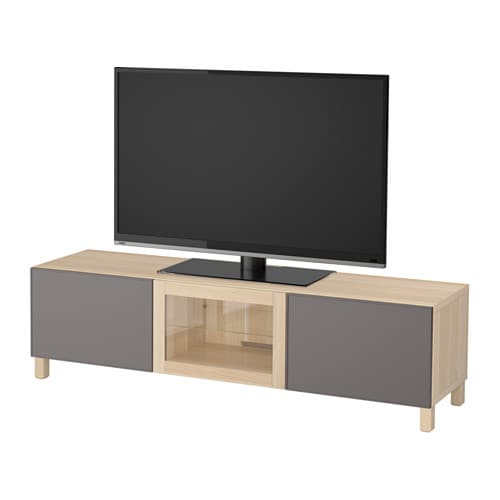 best tv bank mit schubladen und t r eicheneffekt wei lasiert grundsviken dunkelgrau klarglas. Black Bedroom Furniture Sets. Home Design Ideas