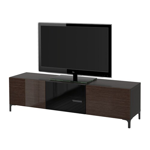 best tv bank mit schubladen und t r schwarzbraun selsviken hochglanz rauchglas braun. Black Bedroom Furniture Sets. Home Design Ideas