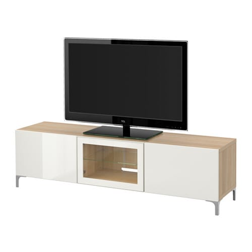 best tv bank mit schubladen und t r eicheneffekt wei lasiert selsviken hochglanz klarglas. Black Bedroom Furniture Sets. Home Design Ideas