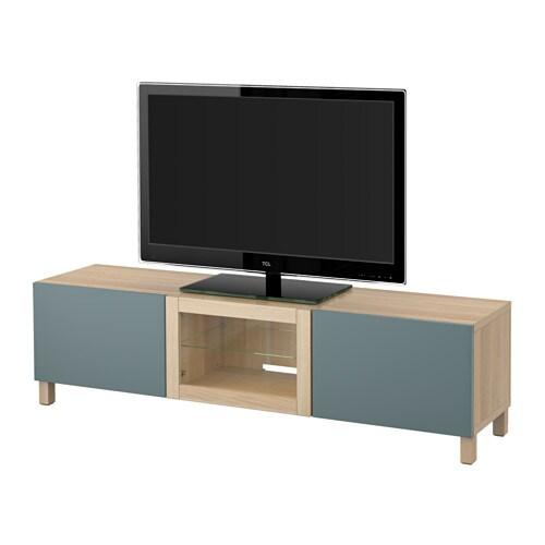best tv bank mit schubladen und t r eicheneffekt wei lasiert valviken klargl gra t rk. Black Bedroom Furniture Sets. Home Design Ideas