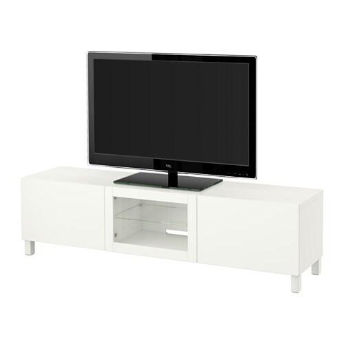 best tv bank mit schubladen und t r lappviken klarglas wei schubladenschiene drucksystem. Black Bedroom Furniture Sets. Home Design Ideas