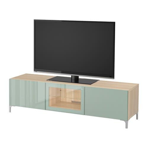 best tv bank mit schubladen und t r eicheneff wlas selsviken hochglanz hell graugr n klarglas. Black Bedroom Furniture Sets. Home Design Ideas