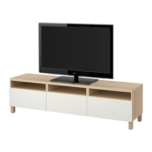 best tv bank mit schubladen eicheneffekt wei lasiert lappviken wei schubladenschiene. Black Bedroom Furniture Sets. Home Design Ideas