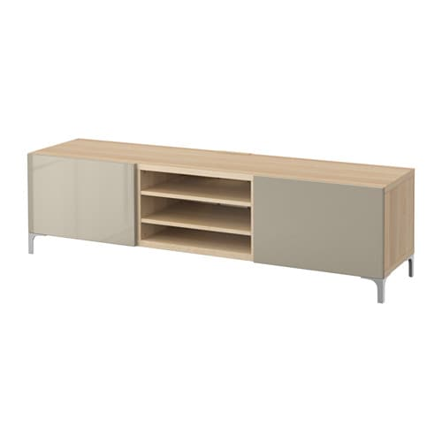 best tv bank mit schubladen eichenachbildg wei las selsviken hochglanz beige. Black Bedroom Furniture Sets. Home Design Ideas