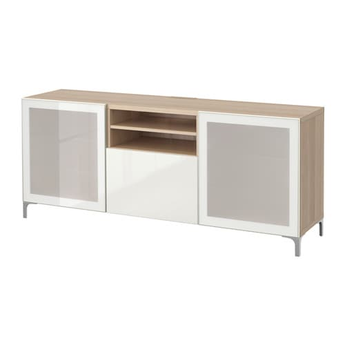best tv bank mit schubladen eicheneff wlas selsviken hochglanz frostglas wei. Black Bedroom Furniture Sets. Home Design Ideas
