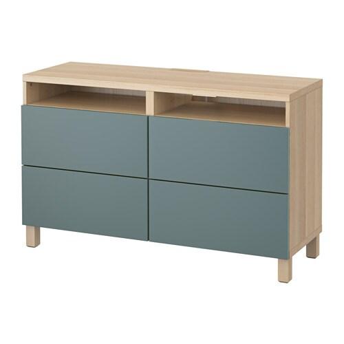 best tv bank mit schubladen eicheneffekt wei lasiert valviken graut rkis schubladenschiene. Black Bedroom Furniture Sets. Home Design Ideas