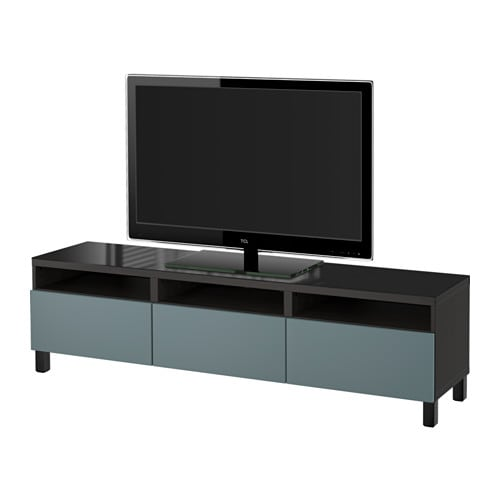 best tv bank mit schubladen schwarzbraun valviken. Black Bedroom Furniture Sets. Home Design Ideas