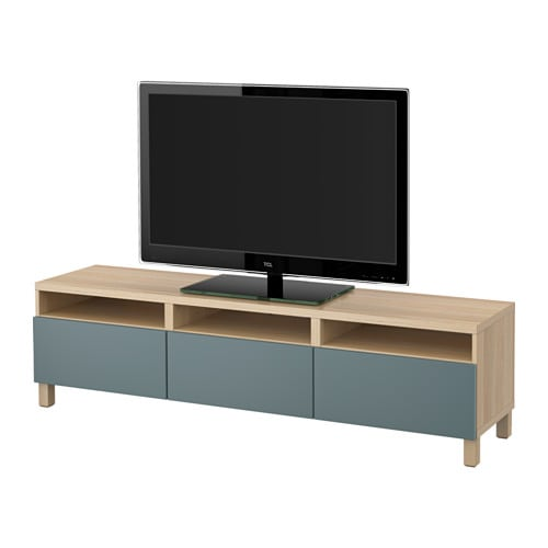 best tv bank mit schubladen eicheneffekt wei lasiert valviken graut rkis schubladenschiene. Black Bedroom Furniture Sets. Home Design Ideas
