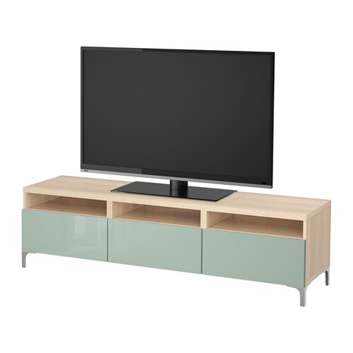 best tv bank mit schubladen eicheneffekt wei lasiert selsviken hochglanz hell graugr n. Black Bedroom Furniture Sets. Home Design Ideas
