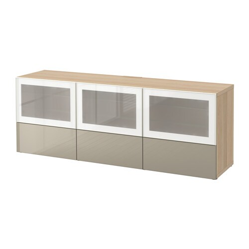 best tv bank mit t ren und schubladen eichenachbildg wei las selsviken hochgl beige frostgl. Black Bedroom Furniture Sets. Home Design Ideas