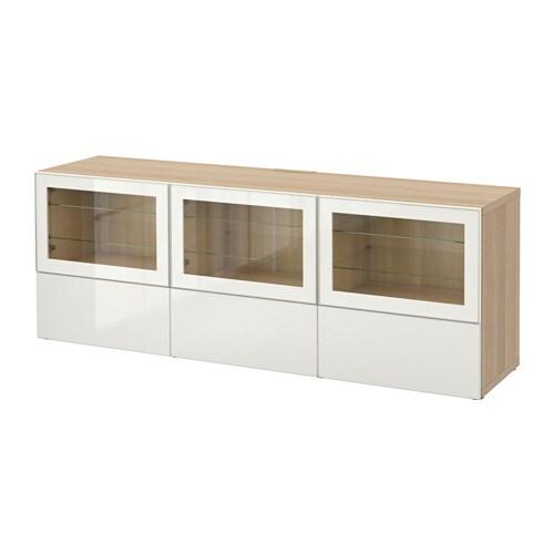 best tv bank mit t ren und schubladen eichenachbildg wei las selsviken hochglanz klarglas. Black Bedroom Furniture Sets. Home Design Ideas