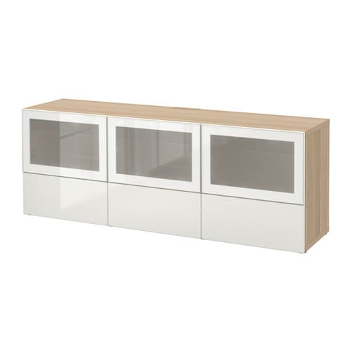 best tv bank mit t ren und schubladen eichenachbildg wei las selsviken hochglanz frostglas. Black Bedroom Furniture Sets. Home Design Ideas