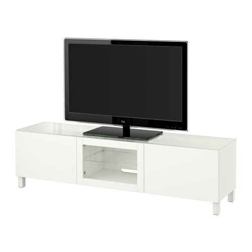 best tv bank mit t ren lappviken klarglas wei. Black Bedroom Furniture Sets. Home Design Ideas