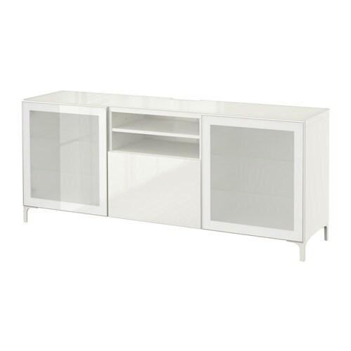 best tv bank wei selsviken hochglanz frostglas wei schubladenschiene sanft schlie end ikea. Black Bedroom Furniture Sets. Home Design Ideas