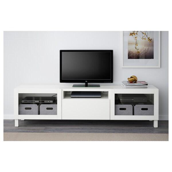 BESTÅ TV-Bank, weiß/Lappviken/Stubbarp Klarglas weiß, 180x42x48 cm