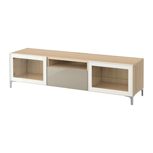 best tv bank eichenachbildg wei las selsviken hochgl beige klargl ikea. Black Bedroom Furniture Sets. Home Design Ideas