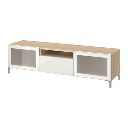 best tv bank eicheneff wlas selsviken hochglanz frostglas wei schubladenschiene sanft. Black Bedroom Furniture Sets. Home Design Ideas