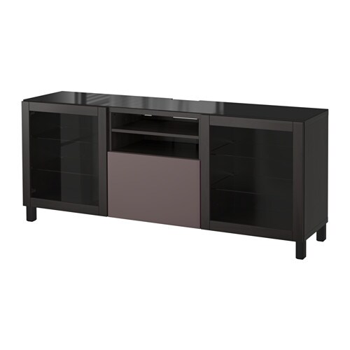 best tv bank schwarzbraun valviken klargl dbraun. Black Bedroom Furniture Sets. Home Design Ideas