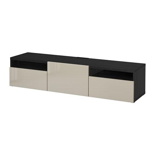 best tv bank schwarzbraun selsviken hochglanz beige schubladenschiene drucksystem ikea. Black Bedroom Furniture Sets. Home Design Ideas