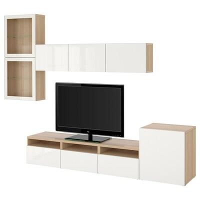 BESTÅ TV-Komb. mit Vitrinentüren, Eicheneff wlas/Selsviken Hochglanz/Klarglas weiß, 300x42x211 cm