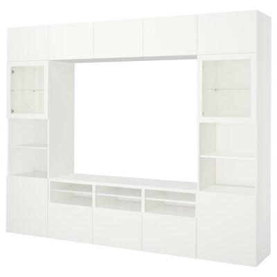 BESTÅ TV-Komb. mit Vitrinentüren, Lappviken/Sindvik Klarglas weiß, 300x40x230 cm