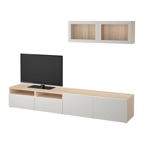 best tv komb mit vitrinent ren eicheneffekt wei lasiert lappviken hellgrau klarglas. Black Bedroom Furniture Sets. Home Design Ideas